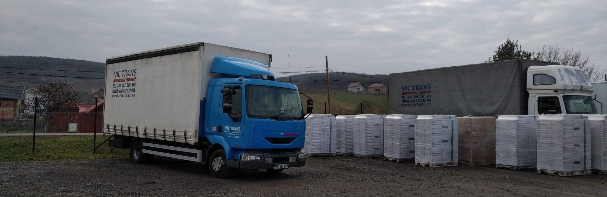 Camion albastru + marfa VIC TRANS